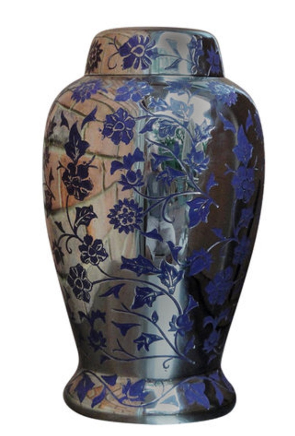 Cremation Urn for Ashes Ceramic Blue Flowers