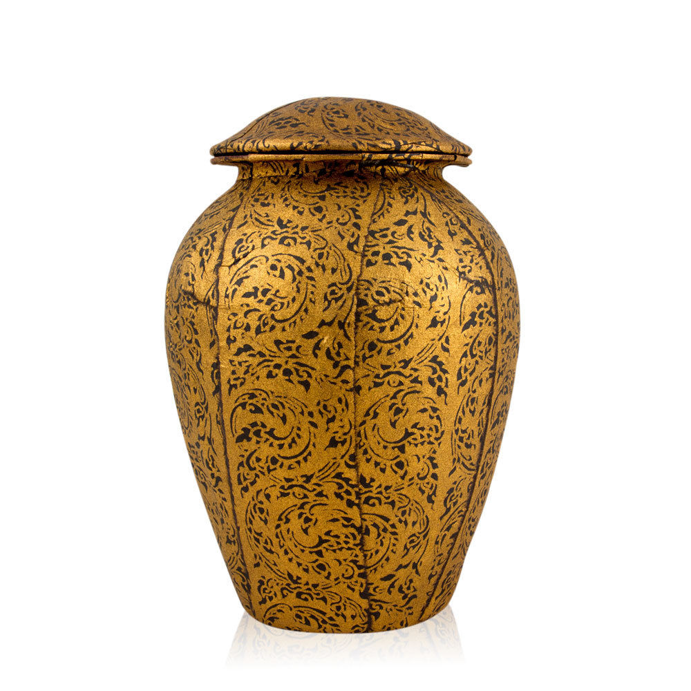 Biodegradable Urn for Ashes Gold Grecian Style
