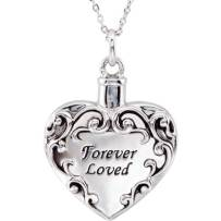 Sterling Silver Heart Cremation Urn on Chain.