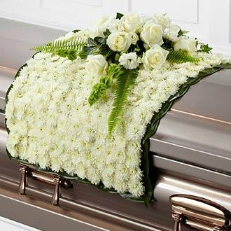 White Blanket Funeral Flowers