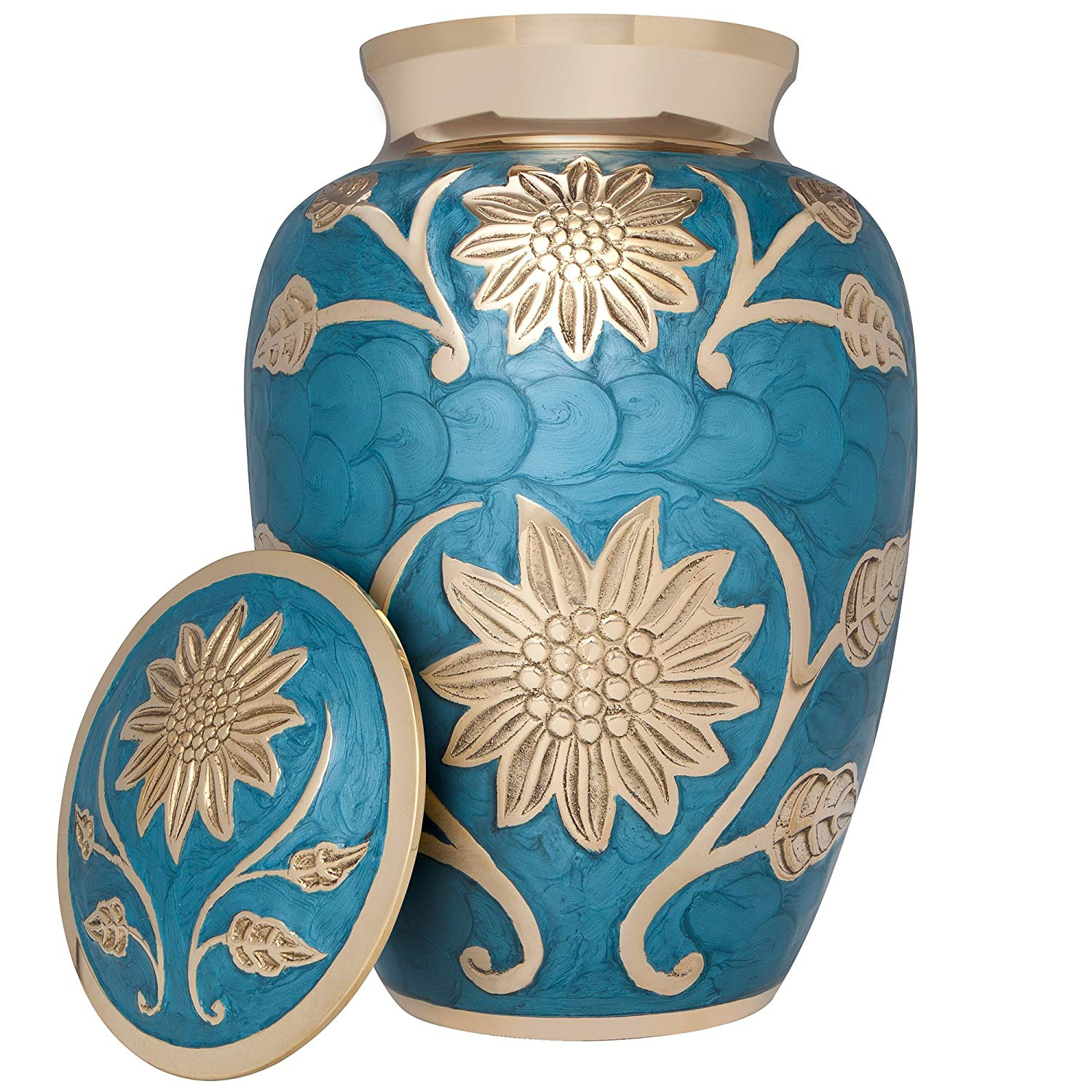 Metallic blue cremation urn