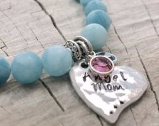 Miscarriage bracelet with aquamarine beads and sterling silver heart - Angel Mom