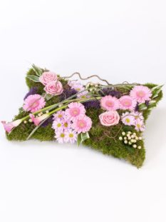 Funeral Flower Pillow with Moss and Pink Roses