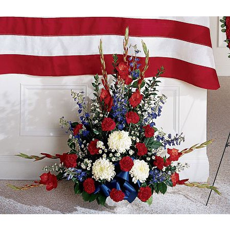 Red white and blue military funeral flower arrangement