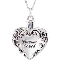Heart Shaped Sterling Silver Pendant for Cremation Ashes, Engraved Forever Loved