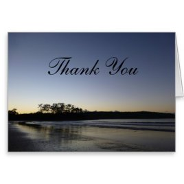 Thank You Card with Dark Blue Sky and Sea