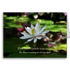 Sympathy Card with WaterLily and Quote Death leaves a heartache no one can heal, love leaves a memory no-one can steal
