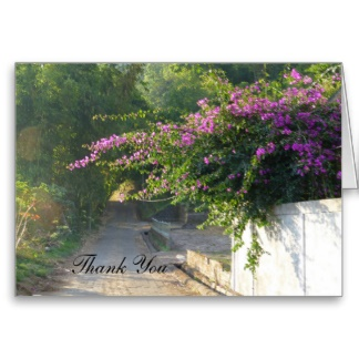 Thank you card with Bougainvillea