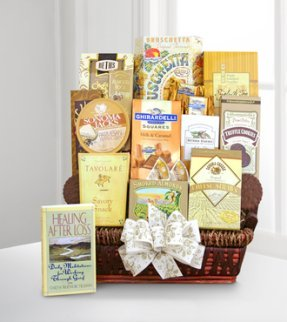 Condolence basket gourmet foods with book