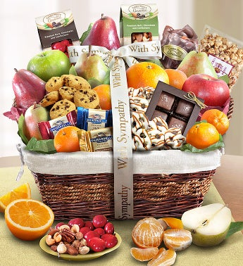 With Sympathy Basket with Fruit and Sweets