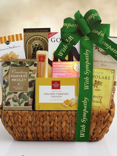 Sympathy Basket with Green Ribbon and Delicious Snacks