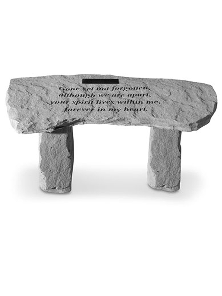 Memorial Bench with Text Gone but Not Forgotten