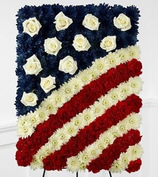 Funeral Flowers with Patriotic Theme - American Flag