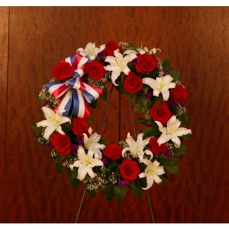 Patriotic Funeral Wreath with Red white and Blue Flowers