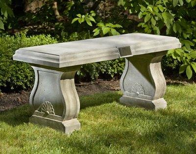 Memorial Garden Bench - Stone Cast Concrete with Brass Plaque