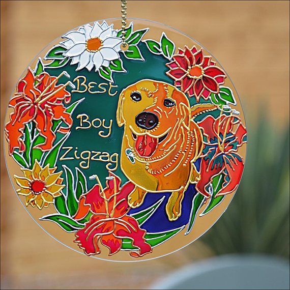 Dog Memorial Hand-painted glass ornament
