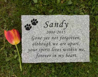 Engraved granite pet memorial stone