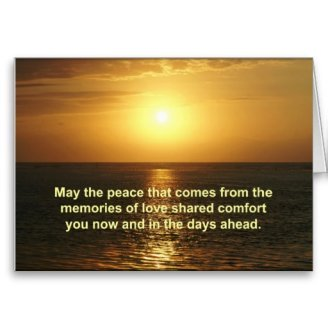 Sympathy Card Orange Sunrise Text - May the Peace that comes from the memories of love shared comfort you now and in the days ahead