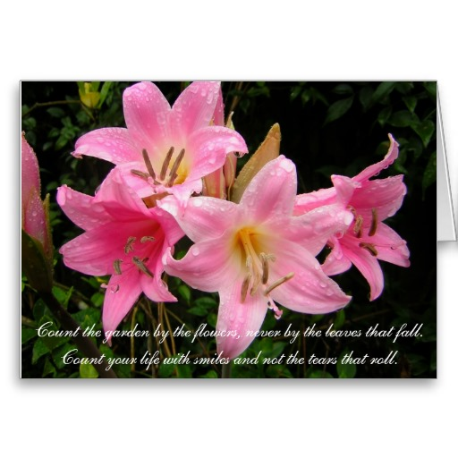 Sympathy Card with Pink Lily and Moving Text