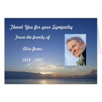 custom sympathy thank you card blue sea