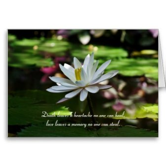 Death leaves a heartache no-one can heal - sympathy card with quote