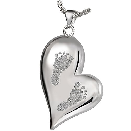 Platinum Heart Shaped Pendant Ash Holder with Baby Footprints