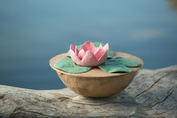 Biodegradable Lotus Urn for Water Burial