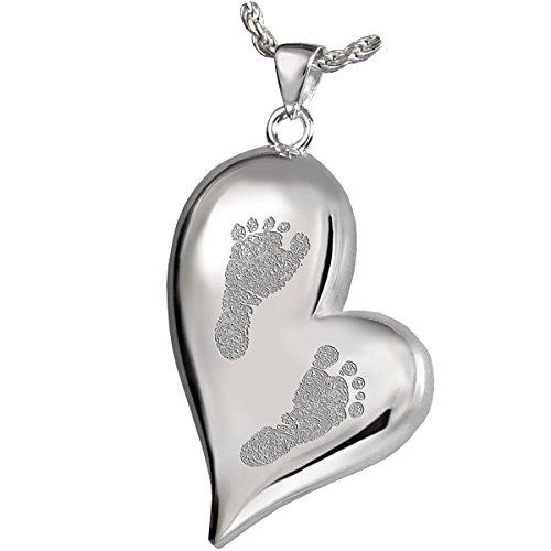Platinum Footprint Cremation Pendant