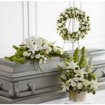 Complete Package Funeral Flowers in White