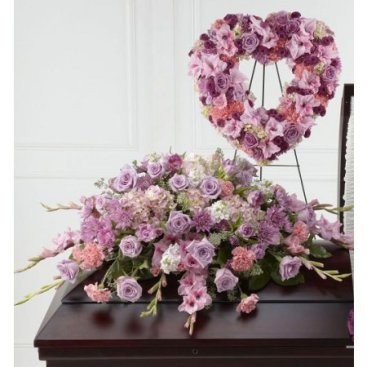 Pink Casket Flowers and Heart Funeral Flower Display