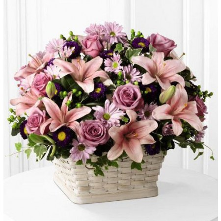 Pink Sympathy Flower Basket