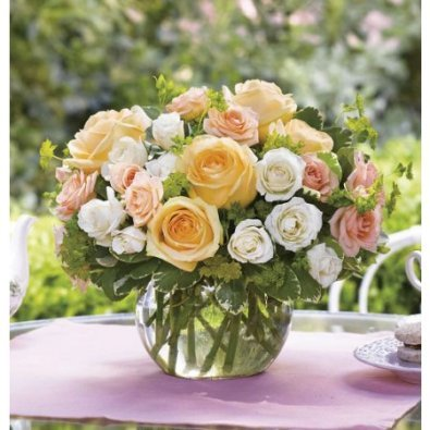 Peach and White Roses Sympathy Bouquet