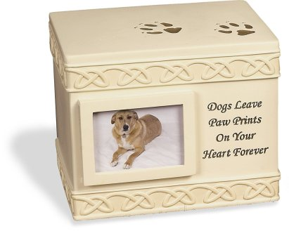 Pet Cremation Urn with quote - Dogs Leave Pawprints on your heart forever