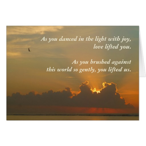Sympathy card for a child, sunrise with text - As you danced in the light