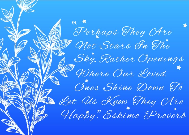 Loss of baby card - stars in the sky quote