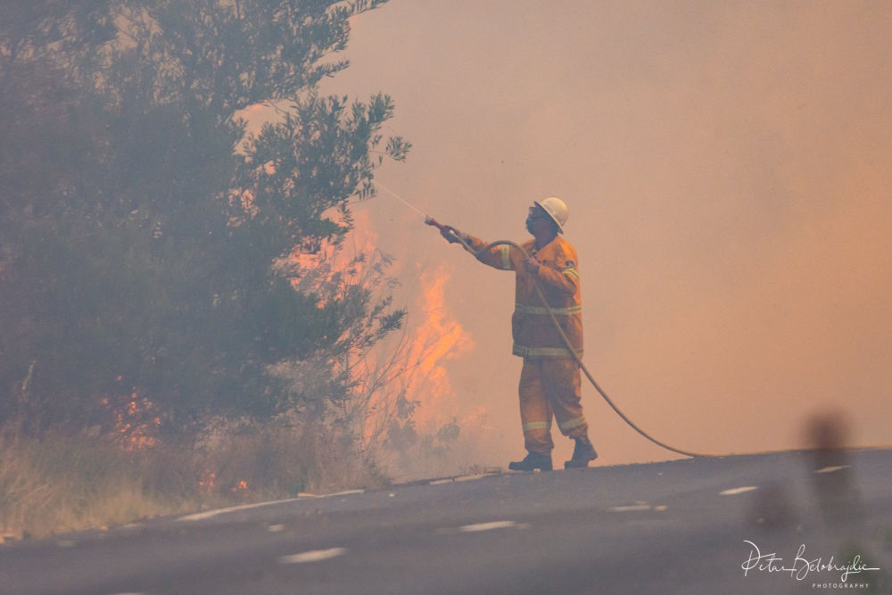 Firefighter with hose tackling NSW bushfires 2019. PetarB Photography