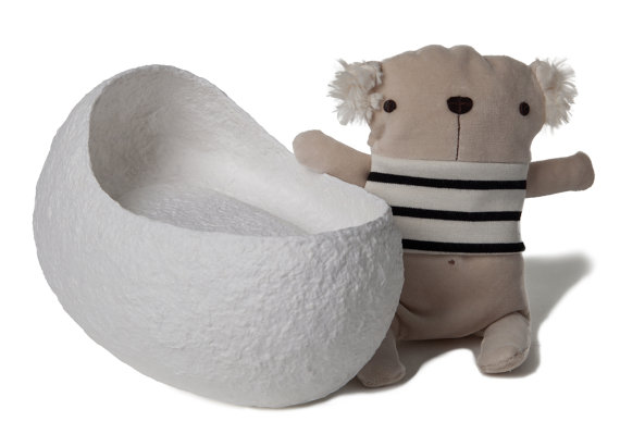 Baby's Cradle Biodegradable Urn in White with Teddy