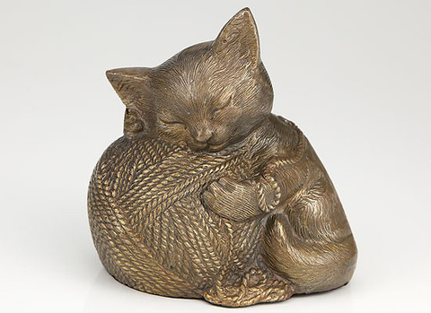 Gold Cat Cremation Urn, Kitty with Ball of Wall