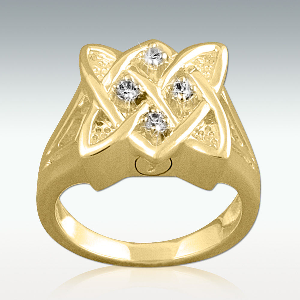 Celtic Knot Cremation Ashes Ring in Gold