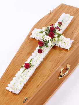 White Cross Casket Flowers with Red Roses