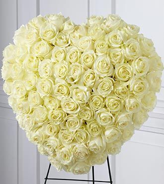 White Roses Heart Wreath