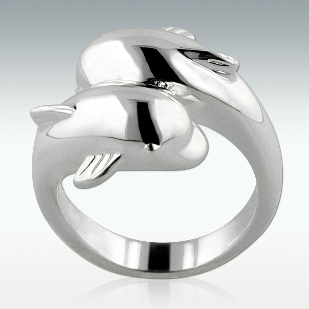 Dolphin Cremation Ring in Silver