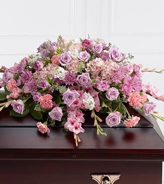 Pink Lavender Casket Arrangement with Roses, Chrysanthemums, Carnations, Tulips from Flowers Fast
