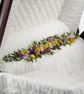 Casket Hinge Flowers Purple Yellow