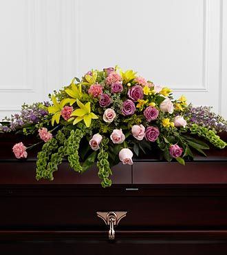 Funeral Casket Flowers Yellow Purple Green