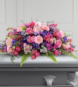 Pink Casket Spray with Daisies, Carnations, Orchids, Roses, Stock, Alstroemeria from Flowers Fast