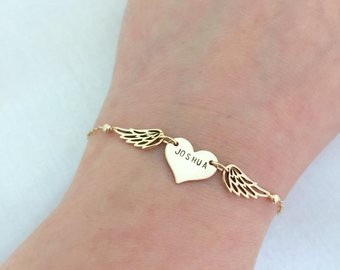 Gold Miscarriage Bracelet - with angel wings