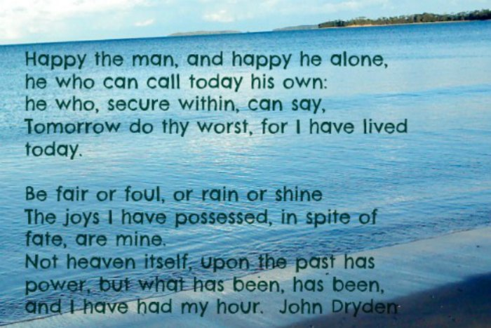 Happy the Man by John Dryden. Seascape background.