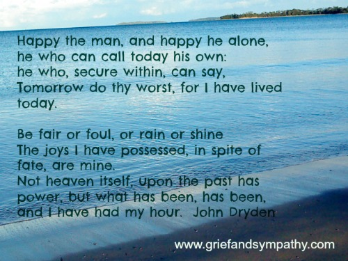 Happy the Man poem with beach photo