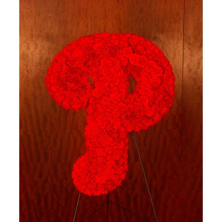 Red Initial P in Flowers - Custom design for a funeral
